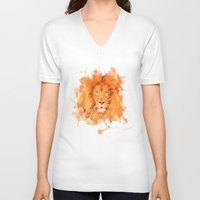 splatter V-neck T-shirts featuring Splatter Lion by Sarah Sutherland