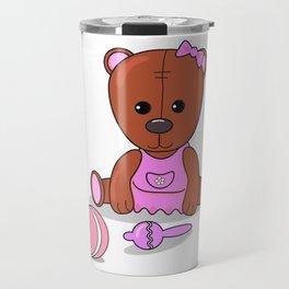 Teddy bear in a pink dress with a ball and maracas. Teddy bear girl. Travel Mug