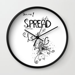 Join Me Quote Floral Ink Wall Clock