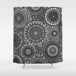 Dot Art Circles Grayscale Shower Curtain