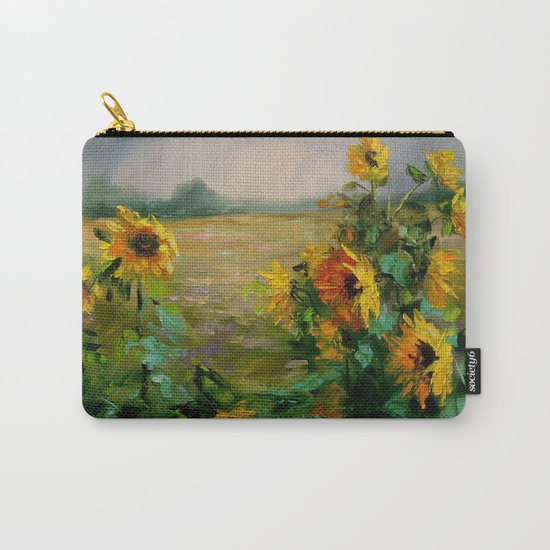 Sunflowers in a field Carry-All Pouch