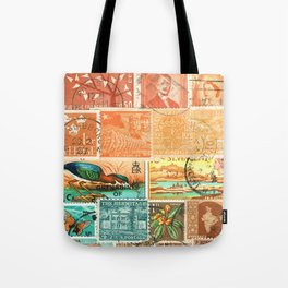Green Heron at Sunset - postage stamp collage Tote Bag