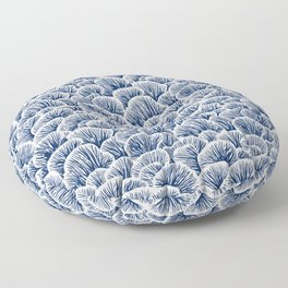 Mushroom Pattern - Dark Blue Floor Pillow