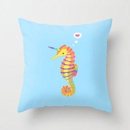 Sea-Unicorn Throw Pillow