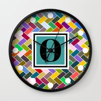 monogram Wall Clocks featuring N Monogram  by mailboxdisco