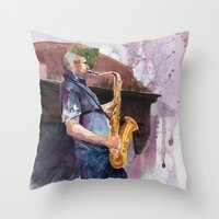 saxophone Throw Pillows featuring Playing saxophone by aurora villaviejas