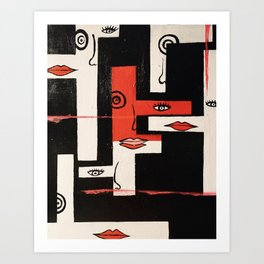 Geometric Abstract painting by artist Brittany Minnes Art Print