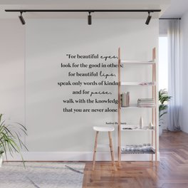 Beautiful quote by Audrey Hepburn Wall Mural