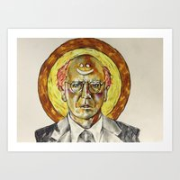 larry david Art Prints featuring Larry David by Carson Kaiser