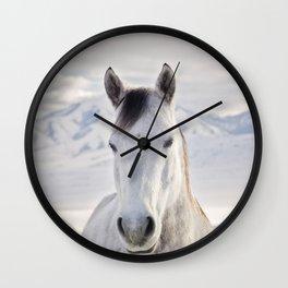 Rustic Winter Horse Wall Clock