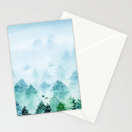 Winter Wonderland | Watercolor Misty Forest Stationery Cards
