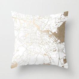 Amsterdam White on Gold Street Map II Throw Pillow
