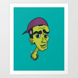 'Hipster Hammer Horror' - Frankenstein's Monster Art Print