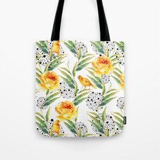 Canaries between plants and yellow flowers Tote Bag