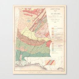 Vintage Agricultural Map of Alabama (1882) Canvas Print