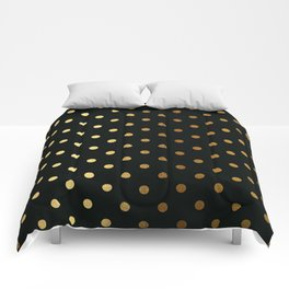 Gold polka dots on black pattern Comforters