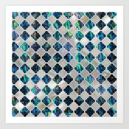 Silver framed abalone pearl shell moroccan pattern Art Print