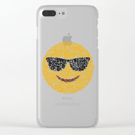 Emoji Calligraphy Art :Smiling face with sunglasses Clear iPhone Case