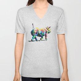 Rainbow Rhino Unisex V-Neck