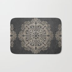 Mandala White Gold on Dark Gray Bath Mat
