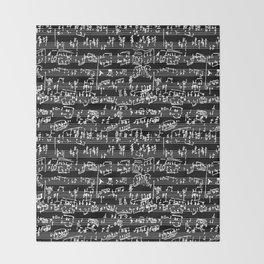Hand Written Sheet Music // Black Throw Blanket
