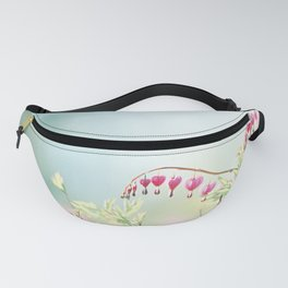 Bleeding Heart Flower Photography, Pink Blue Green Aqua Pastel, Floral Nursery Nature Spring Fanny Pack
