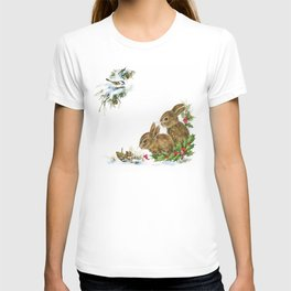 Winter in the forest - Animal Bunny Illustration T-shirt