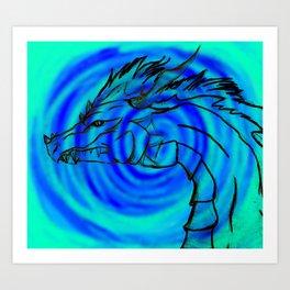 Dragon Fire (Blue) Art Print