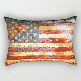 American Flag On Rusted Riveted Metal Door Rectangular Pillow