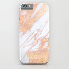 Marble - Rose Gold with Yellow Gold Glitter Shimmery Marble iPhone 6s Slim Case