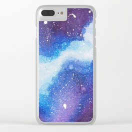 Blue Galaxy Clear iPhone Case
