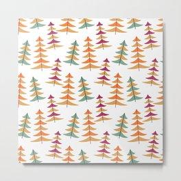 Vintage Christmas Trees - Festive retro 1950s decorations Mid century style Metal Print