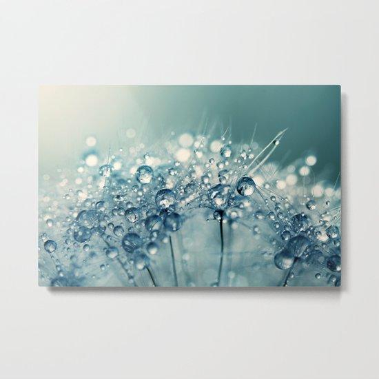 Creamy Blue Sparkles Metal Print
