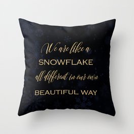 We are like a snowflake - gold glitter Typography on dark background Throw Pillow