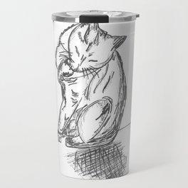 Cat Preening and Licking Travel Mug