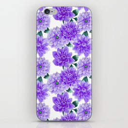 Artistic hand painted purple violet watercolor floral iPhone Skin