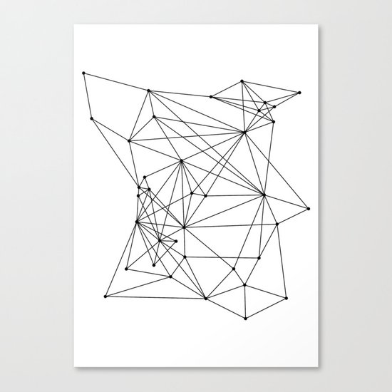 White Geometric Dots and Lines Canvas Print