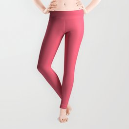 Watermelon Pink Simple Solid Color All Over Print Leggings
