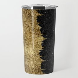 Faux Gold and Black Starry Night Brushstrokes Travel Mug