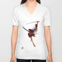 samurai V-neck T-shirts featuring Samurai by youcoucou