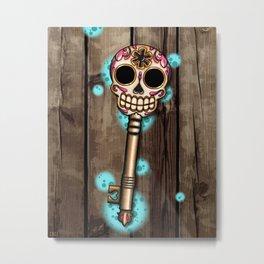 Skeleton Key - Day of the Dead Sugar Skull Metal Print