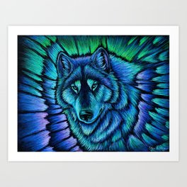 Blue Wolf Aurora Colorful Fantasy Art Print