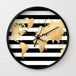 Gold world map black and white stripes Wall Clock