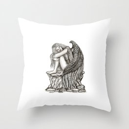 A sleeping Angel , Black and white Design Throw Pillow