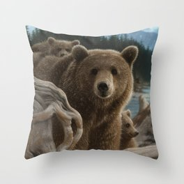 Brown Bear With Cubs - Backpacking Throw Pillow