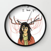 abigail larson Wall Clocks featuring Abigail - I love you so by KalesButt