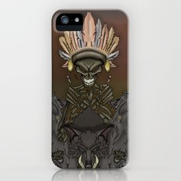 Skeleton Indian and wolves iPhone Case