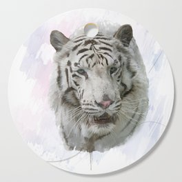 Digital Painting of White Tiger Cutting Board