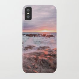 Rocky beach at sunset iPhone Case