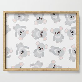 Seamless pattern - Funny cute koala on white background Serving Tray